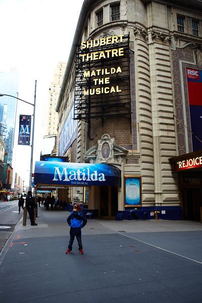 Noah in front of the Shubert Theatre